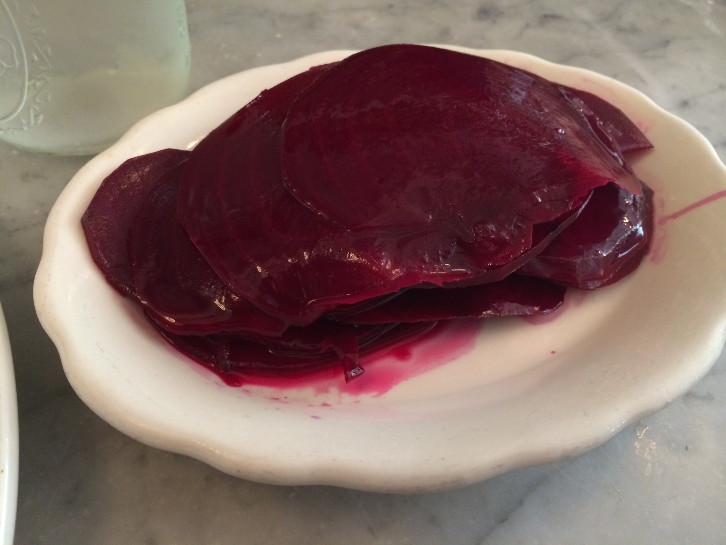 The appetizer sized portion of sweet pickled beets at Jacob's Pickles