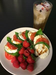 caprese salad and soda